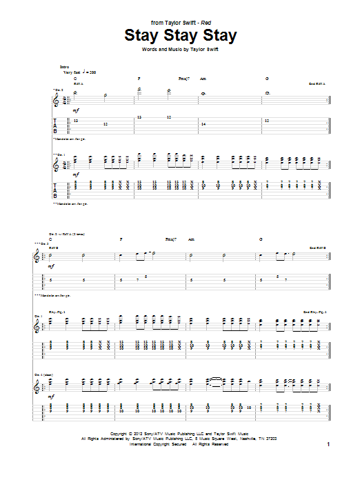 Stay Stay Stay by Taylor Swift - Guitar Tab - Guitar Instructor