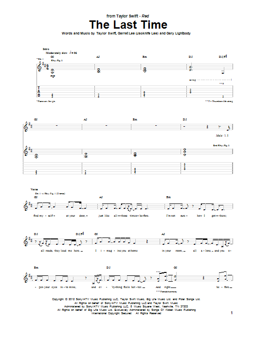 The Last Time (Guitar Tab)