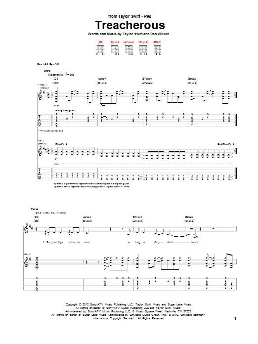 Tablature guitare Treacherous de Taylor Swift - Tablature Guitare