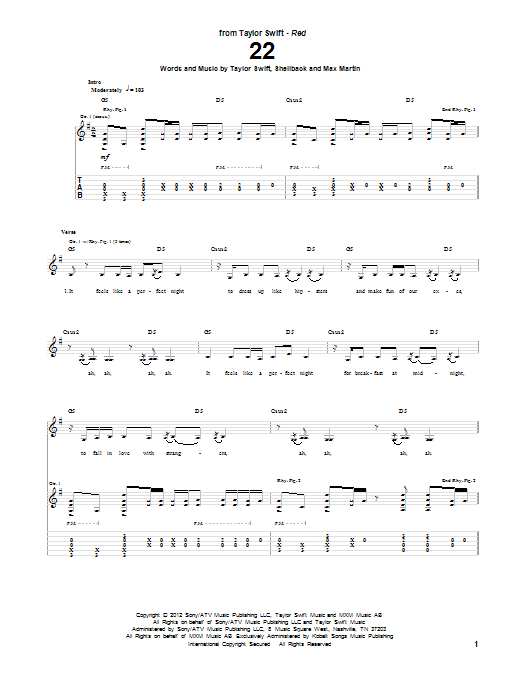 Tablature guitare 22 de Taylor Swift - Tablature Guitare