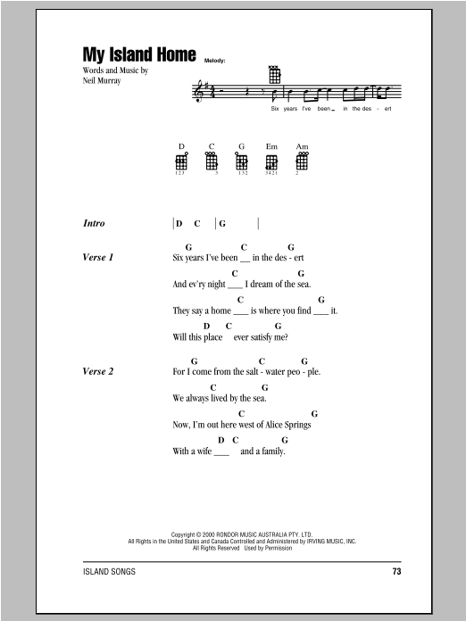 Tablature guitare My Island Home de Neil Murray - Ukulele (strumming patterns)