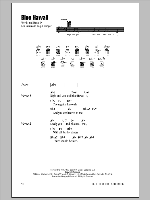 blue hawaii sheet music - Blue Christmas Guitar Chords