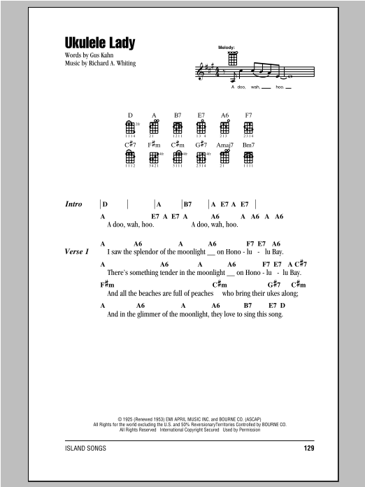 Tablature guitare Ukulele Lady de Richard A. Whiting - Ukulele (strumming patterns)