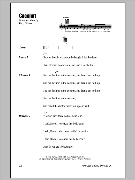 Coconut Sheet Music