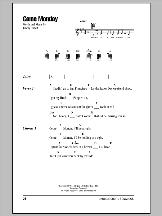 Tablature guitare Come Monday de Jimmy Buffett - Ukulele (strumming patterns)