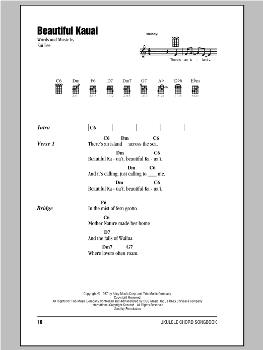 Tablature guitare Beautiful Kauai de Kui Lee - Ukulele (strumming patterns)