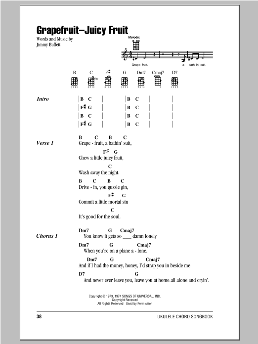 Grapefruit-Juicy Fruit Sheet Music