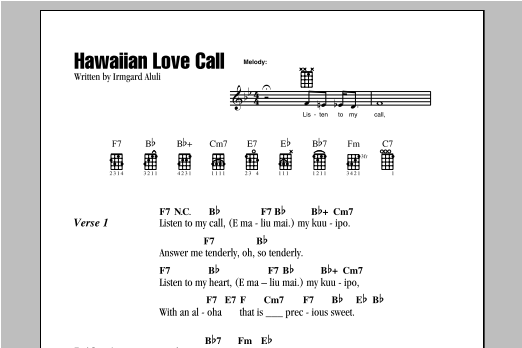 Hawaiian Love Call (Ukulele Chords/Lyrics)