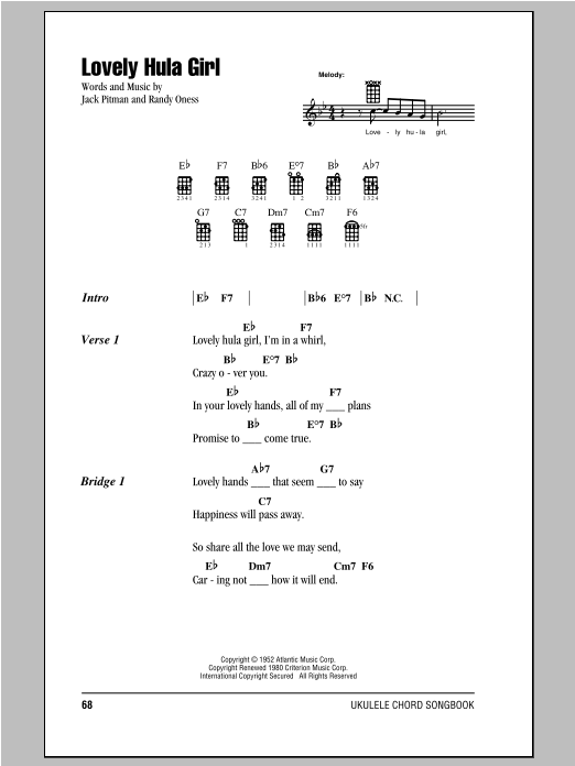 Lovely Hula Girl sheet music by Randy Oness (Ukulele with strumming ...
