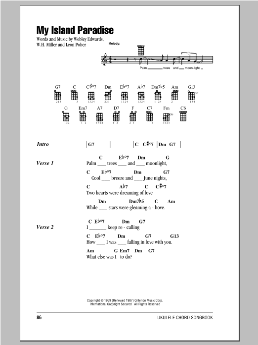 Island Songs - Ukulele Chord Songbook Sheet Music by Various - Hal ...