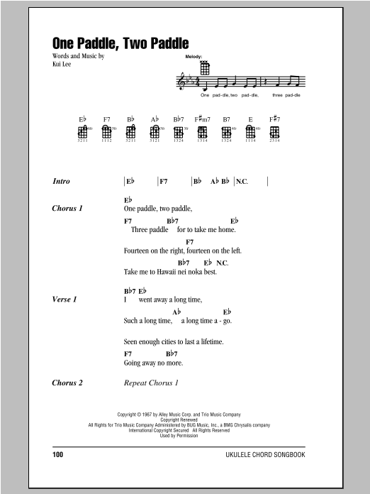 Tablature guitare One Paddle, Two Paddle de Kui Lee - Ukulele (strumming patterns)