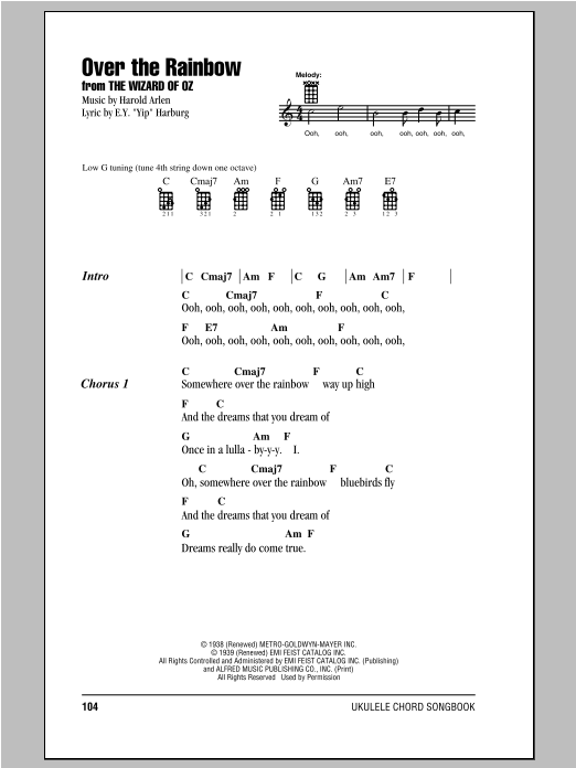 Over The Rainbow Sheet Music Harold Arlen Ukulele With Strumming Beauteous Somewhere Over The Rainbow Ukulele Strum Pattern