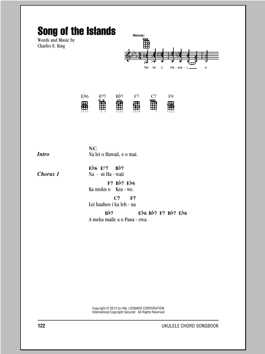 Tablature guitare Song Of The Islands de Charles E. King - Ukulele (strumming patterns)