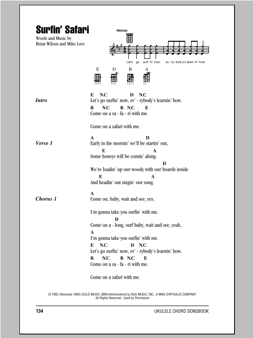 Tablature guitare Surfin' Safari de The Beach Boys - Ukulele (strumming patterns)