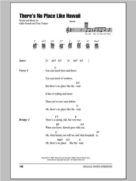 There's No Place Like Hawaii Sheet Music