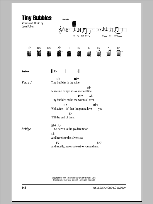 Tiny Bubbles sheet music by Don Ho (Ukulele with strumming ...