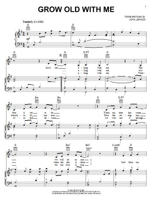 Partition piano Grow Old With Me de John Lennon - Piano Voix Guitare (Mélodie Main Droite)