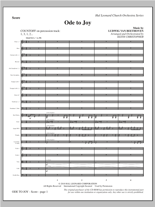 Ode To Joy (COMPLETE) sheet music for orchestra/band (Orchestra) by Ludwig van Beethoven and Keith Christopher. Score Image Preview.