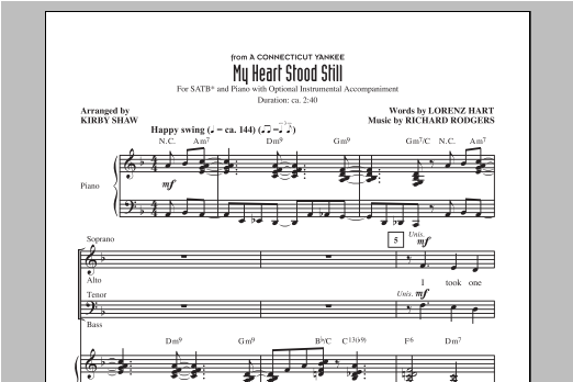 My Heart Stood Still (arr. Kirby Shaw) Sheet Music