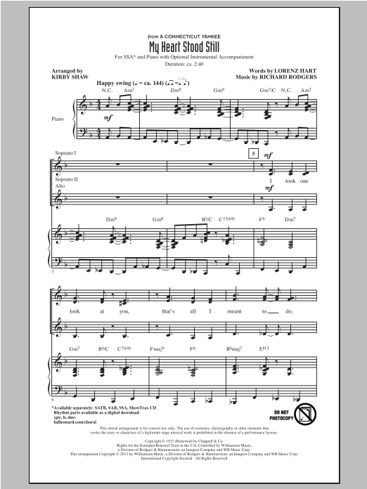 My Heart Stood Still (arr. Kirby Shaw) Sheet Music