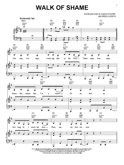 Walk Of Shame Sheet Music