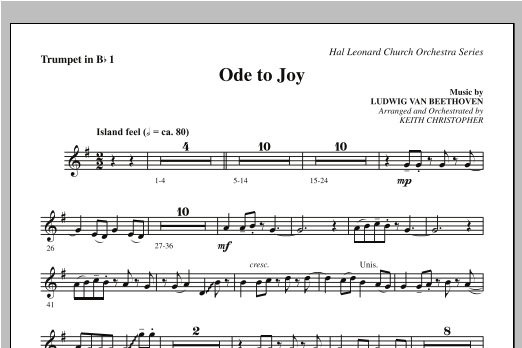 Ode To Joy (Does Not Match SATB 08752035) - Bb Trumpet 1 Sheet Music