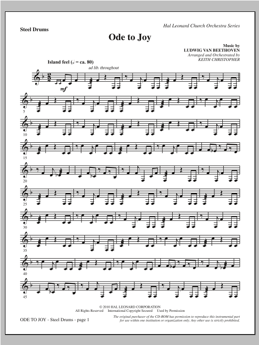 Ode To Joy (Does Not Match SATB 08752035) - Steel Drum Partition Digitale