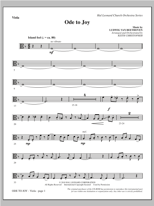 Ode To Joy (Does Not Match SATB 08752035) - Viola Sheet Music