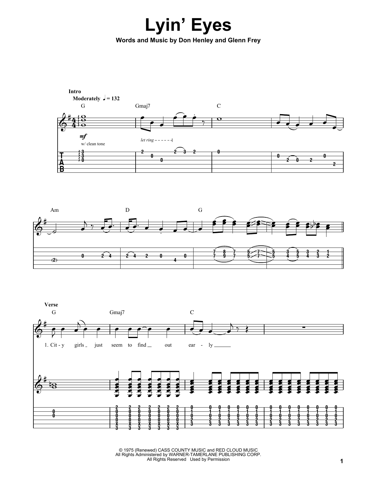 Lyin' Eyes Sheet Music
