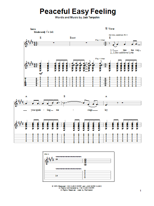 Tablature guitare Peaceful Easy Feeling de Eagles - Autre