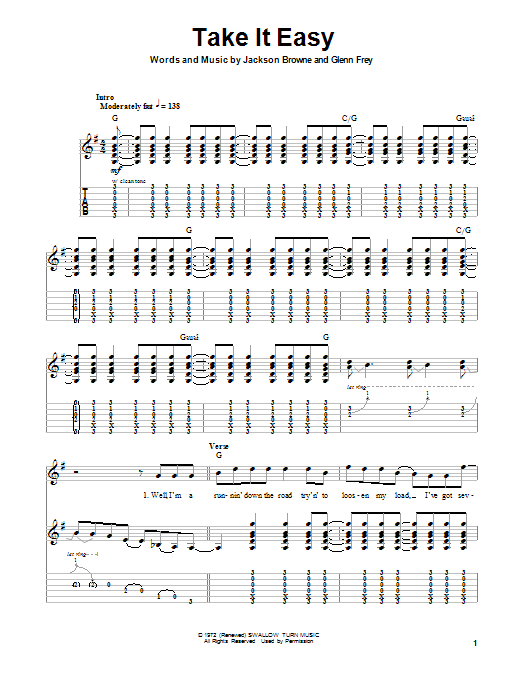 Take It Easy Sheet Music Direct