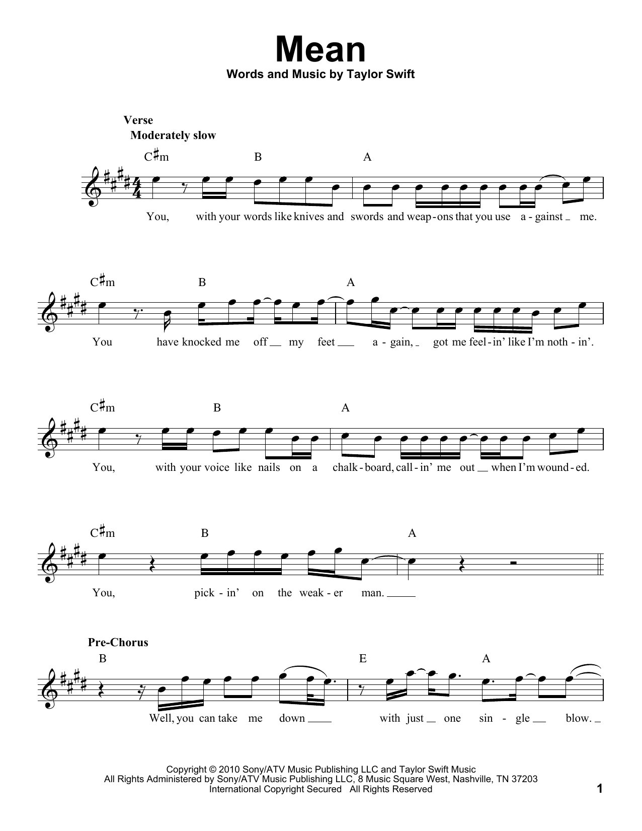Mean Sheet Music