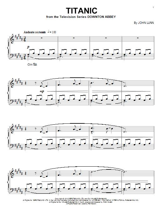 Partition piano Titanic de John Lunn - Piano Solo