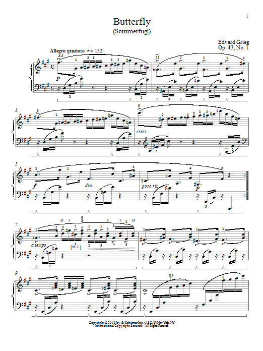 Partition piano Butterfly (Sommerfugl), Op. 43, No. 1 de William Westney - Piano Solo