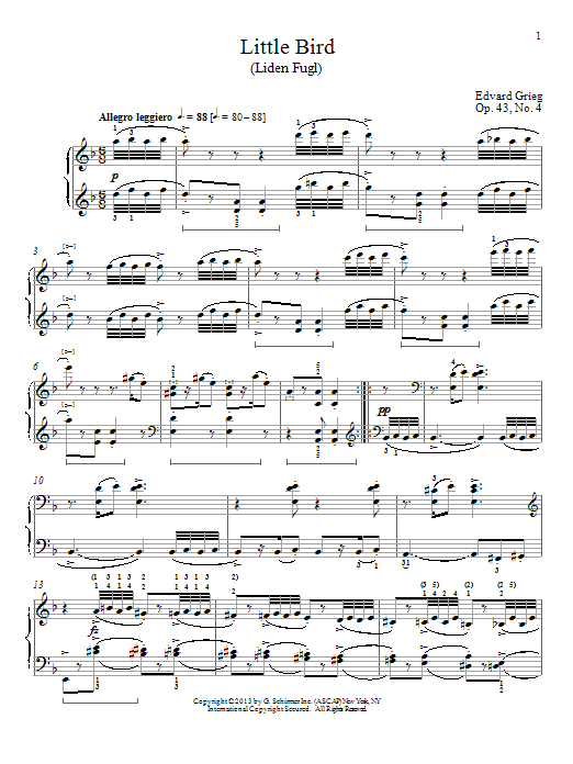 Little Bird (Liden Fugl), Op. 43, No. 4 (Piano Solo)