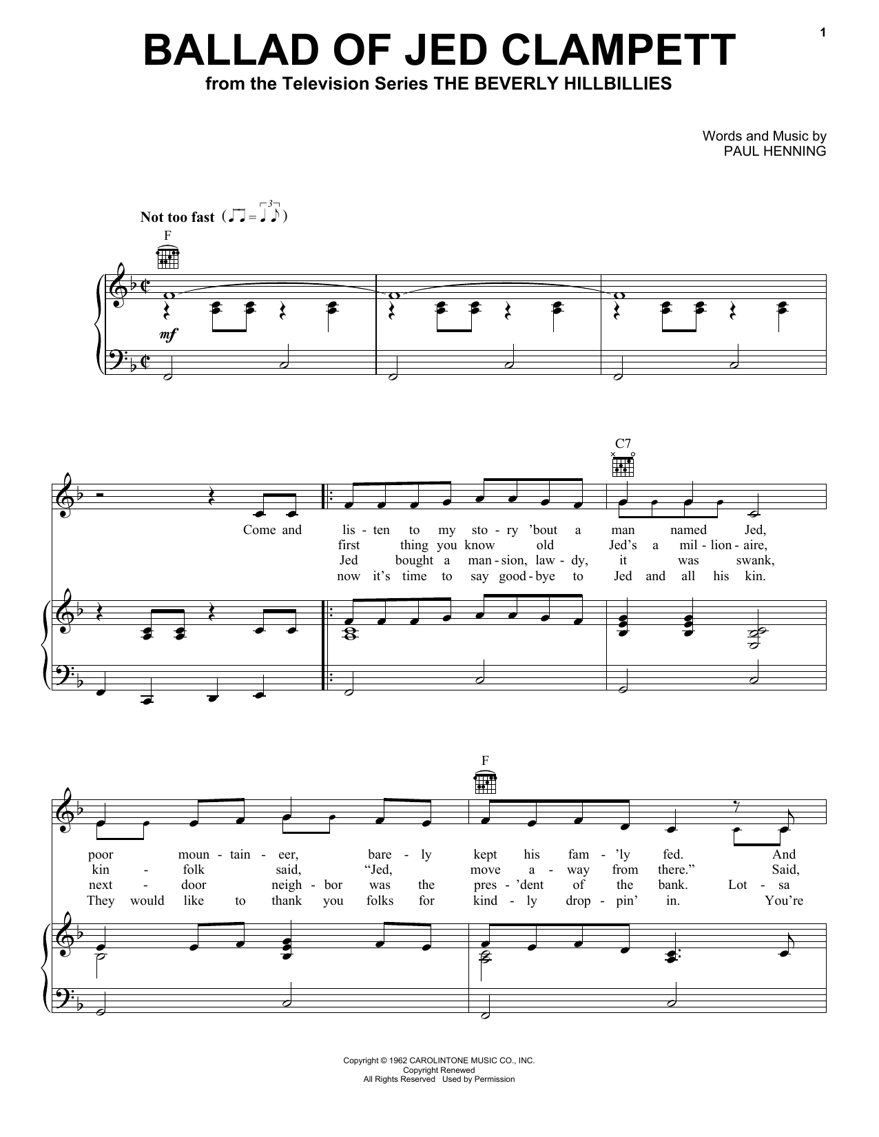 Ballad Of Jed Clampett (from The Beverly Hillbillies) Sheet Music