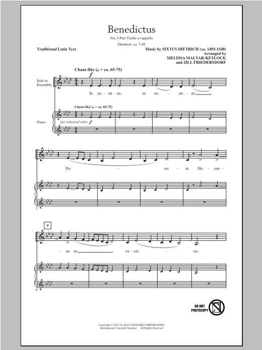 Benedictus (arr. Jill Friedersdorf and Melissa Malvar-Keylock) Sheet Music