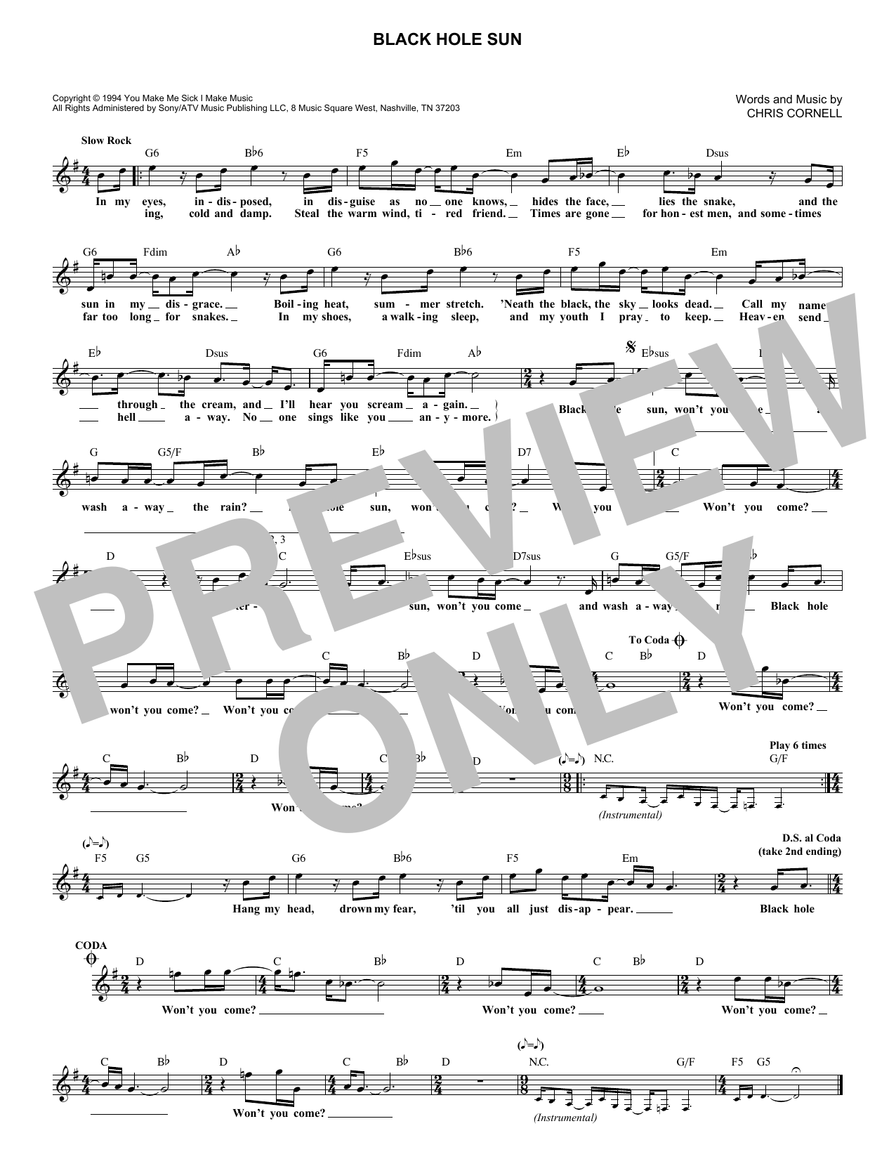 Black Hole Sun (Lead Sheet / Fake Book)