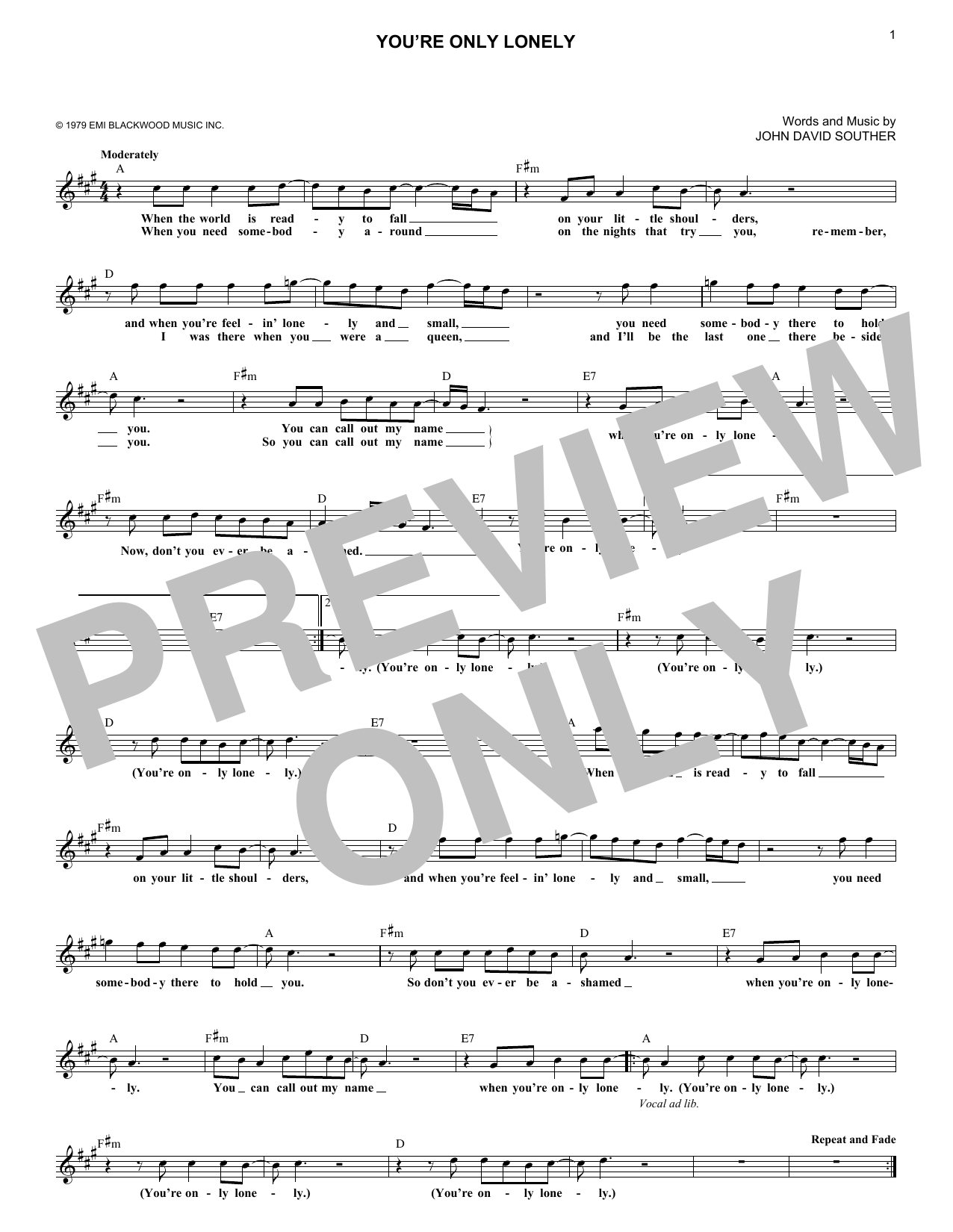 You're Only Lonely (Lead Sheet / Fake Book)
