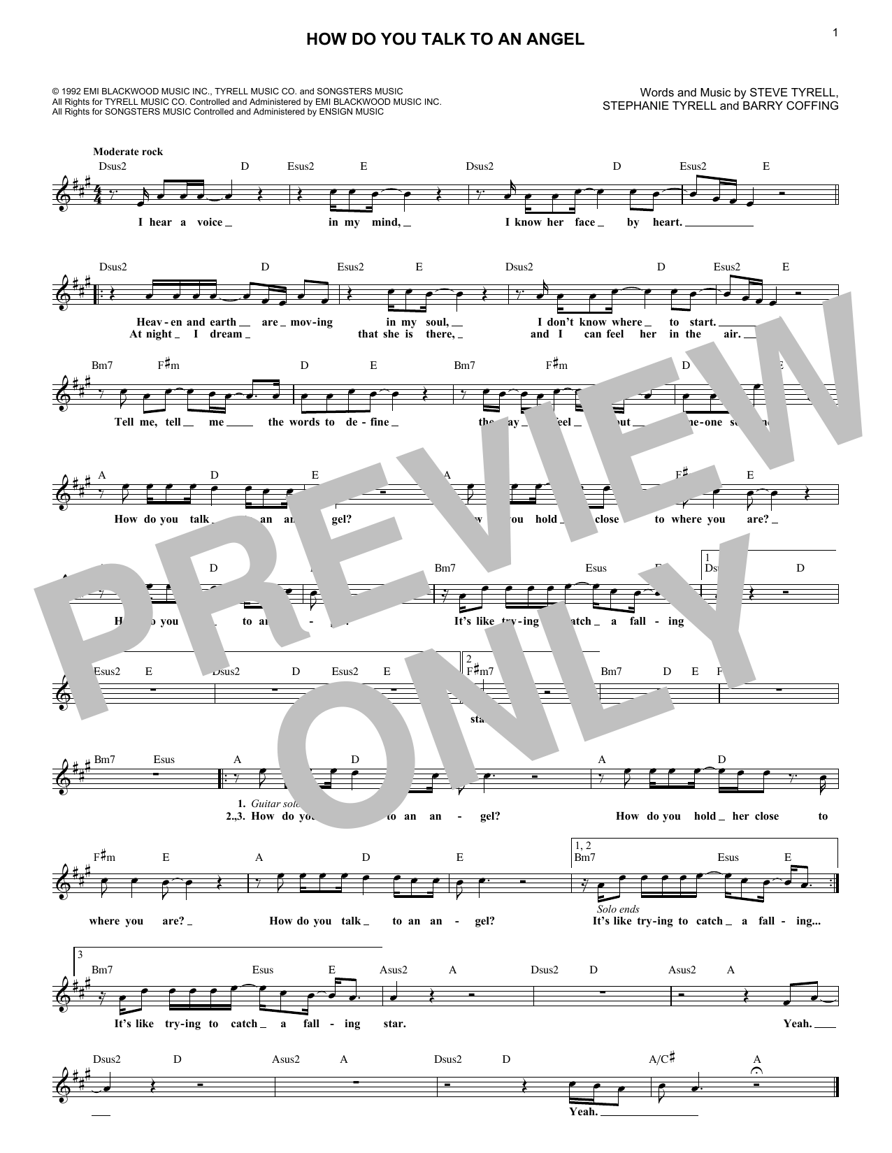 How Do You Talk To An Angel (Lead Sheet / Fake Book)
