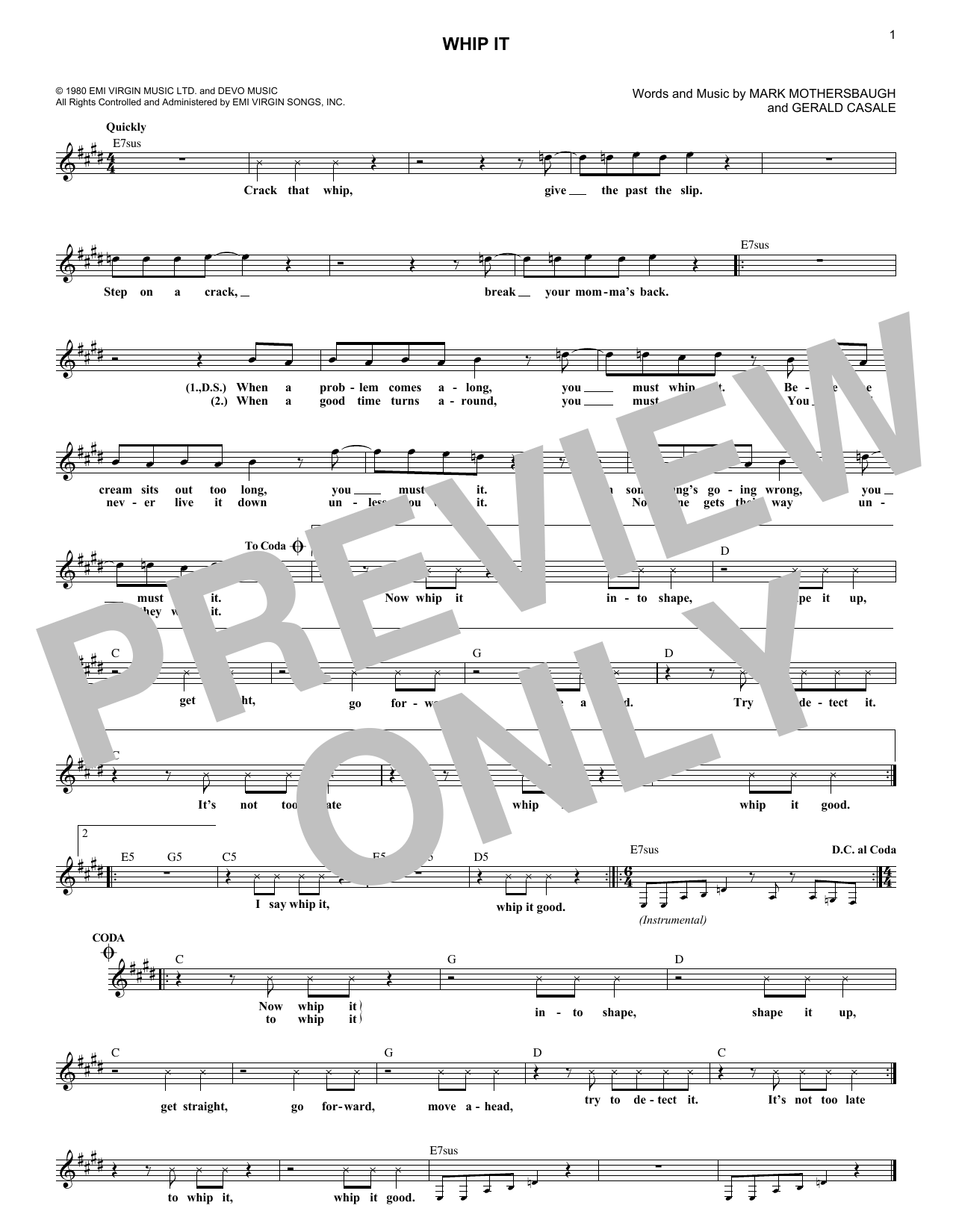 Whip It (Lead Sheet / Fake Book)
