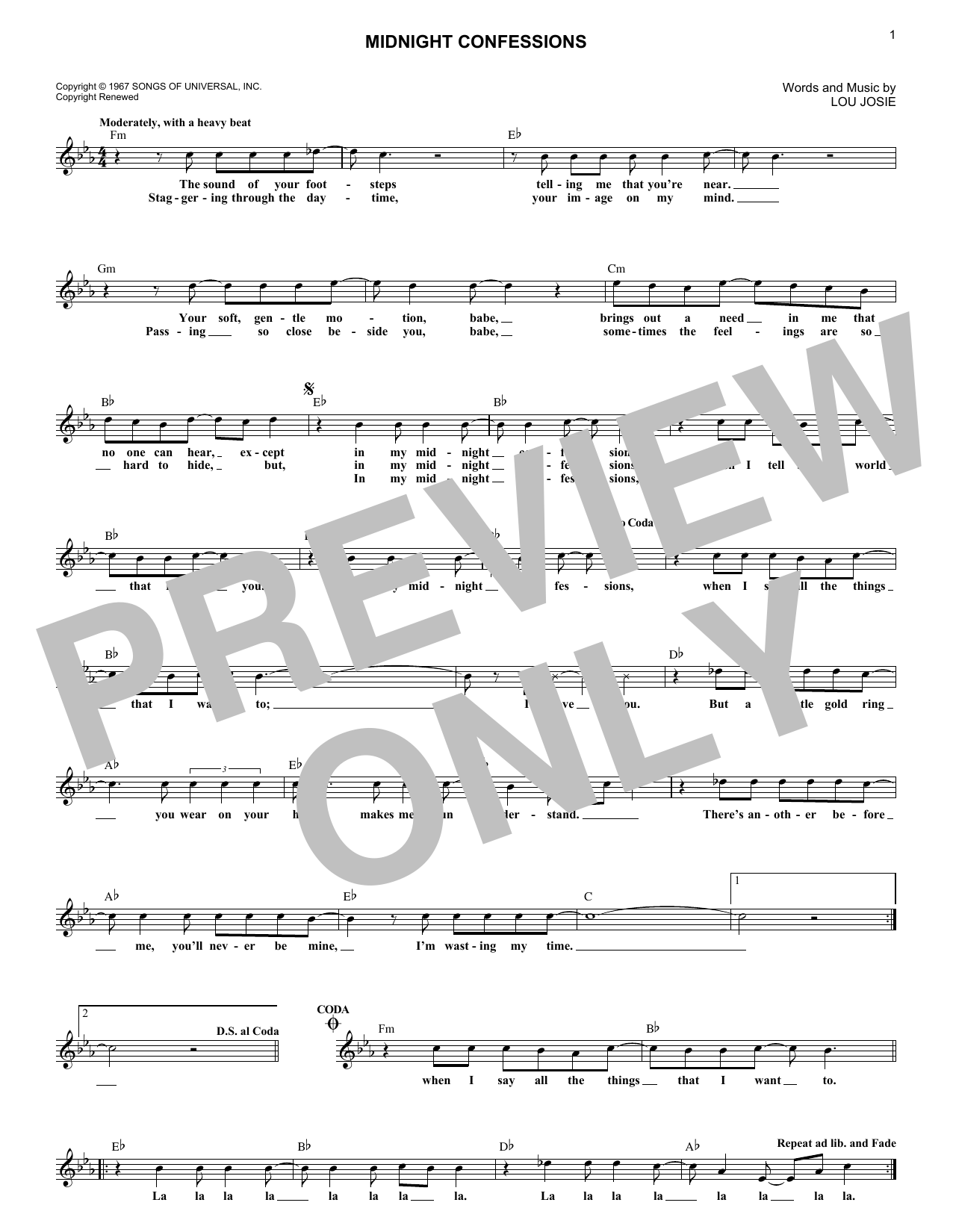 Midnight Confessions (Lead Sheet / Fake Book)