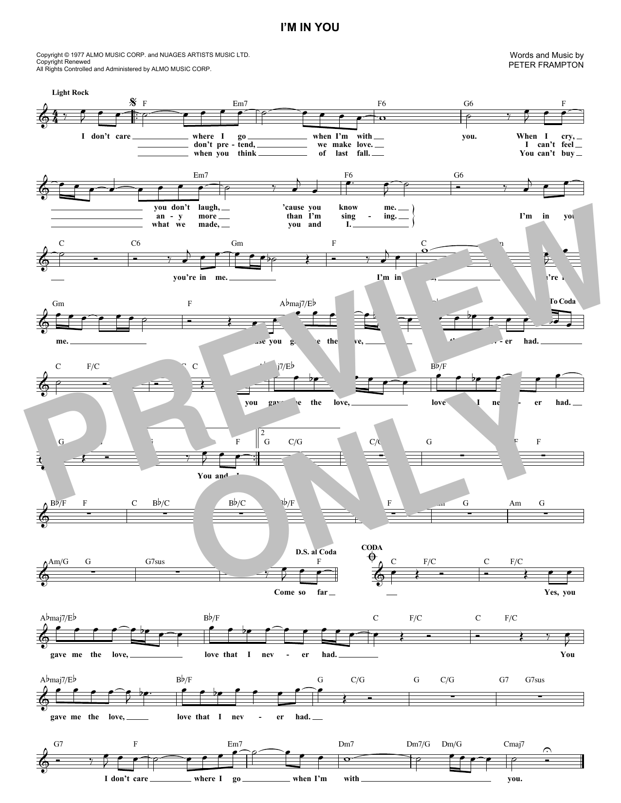 I'm In You (Lead Sheet / Fake Book)