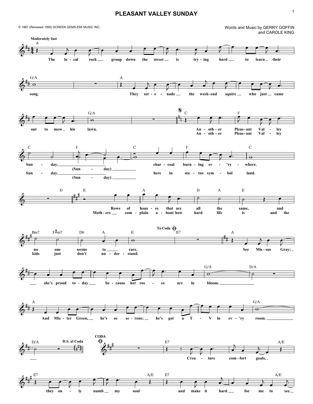 Pleasant Valley Sunday (Lead Sheet / Fake Book)