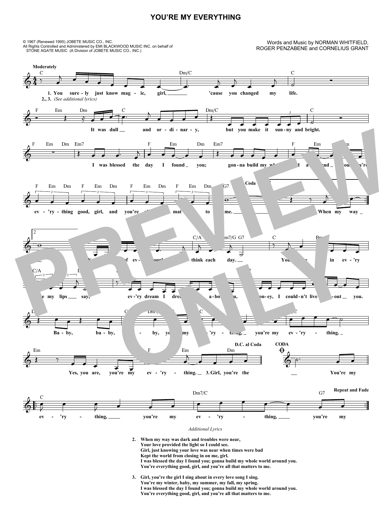 You're My Everything (Lead Sheet / Fake Book)