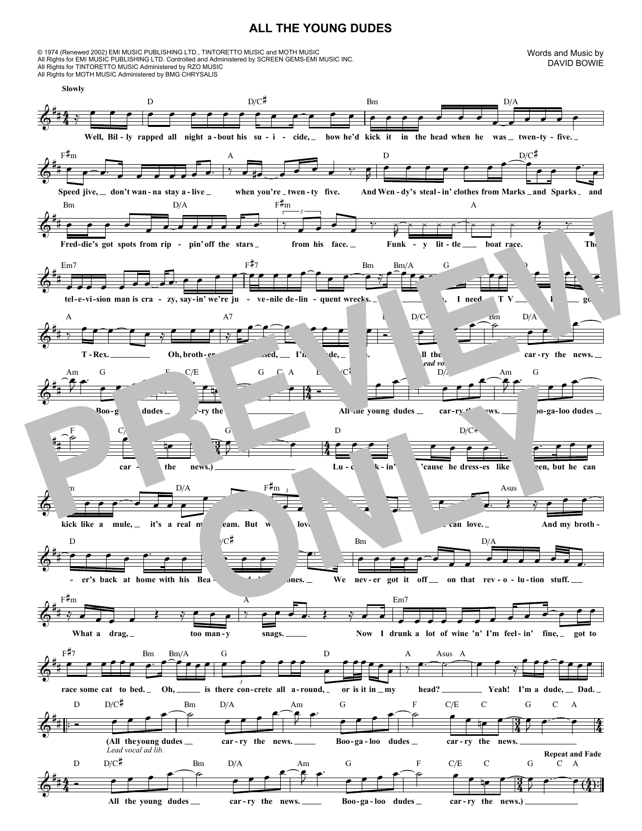 All The Young Dudes (Lead Sheet / Fake Book)