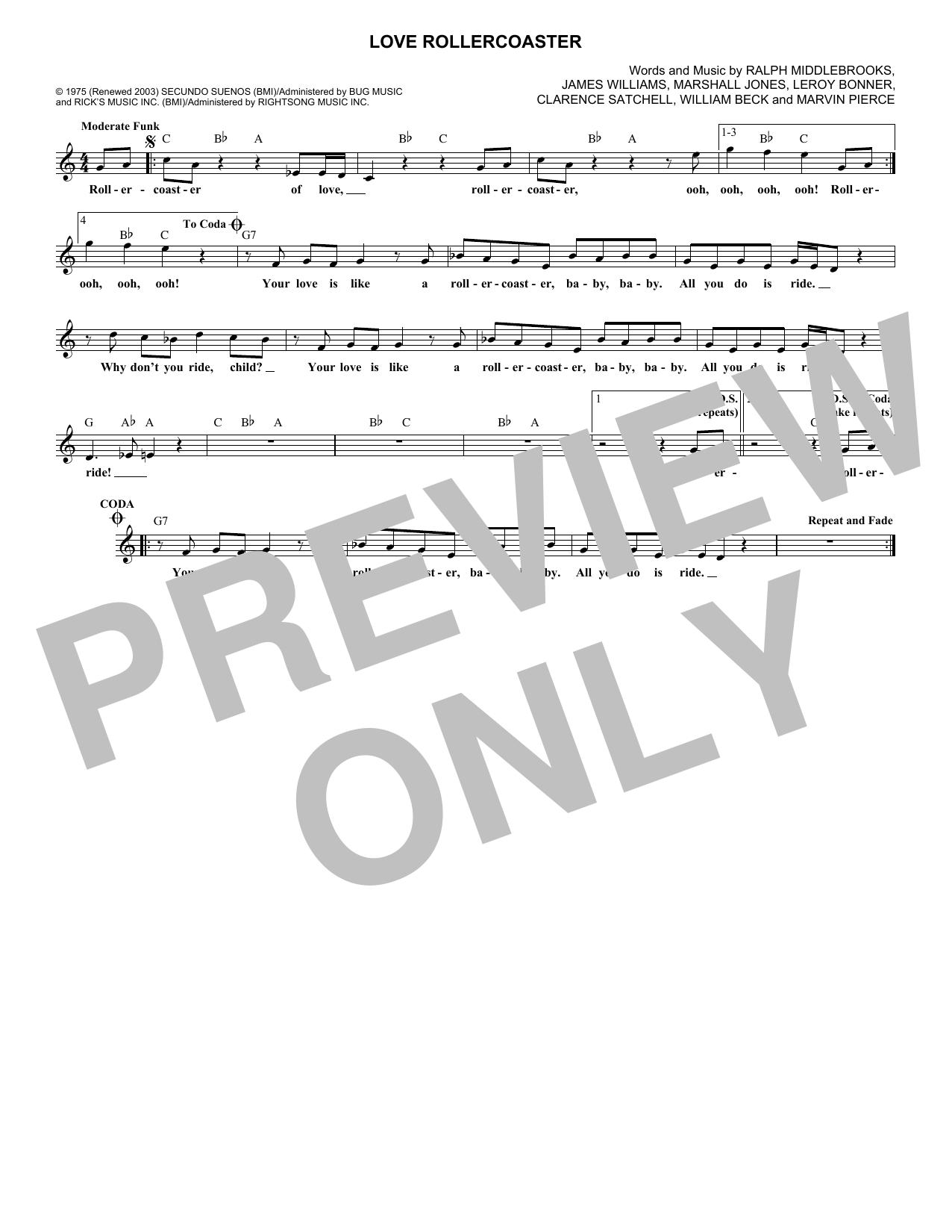 Love Rollercoaster (Lead Sheet / Fake Book)