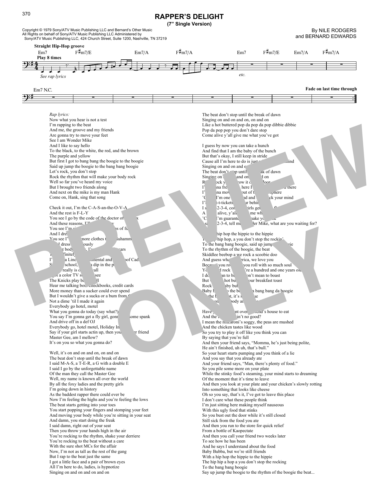 Rapper's Delight (Lead Sheet / Fake Book)