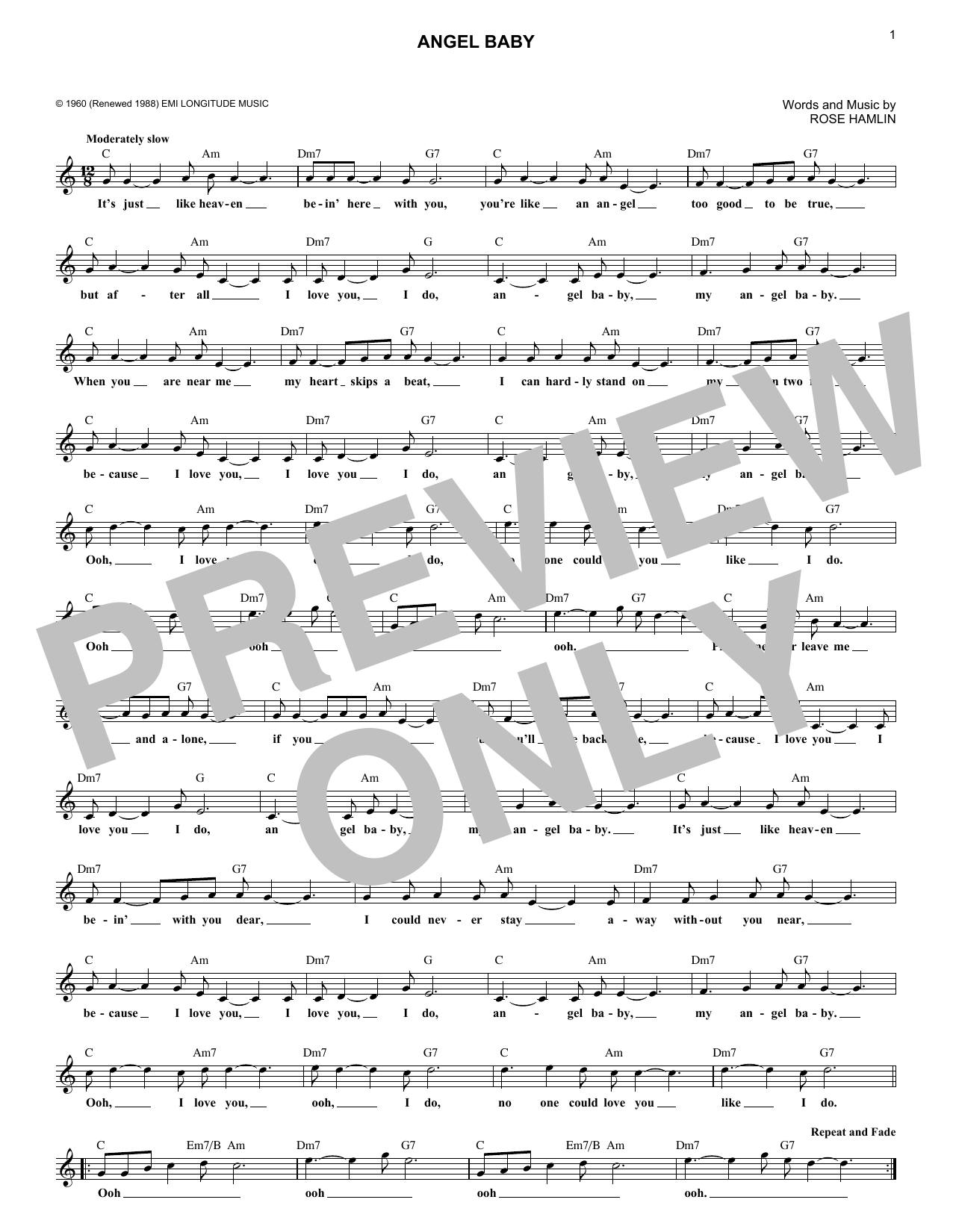 Angel Baby (Lead Sheet / Fake Book)
