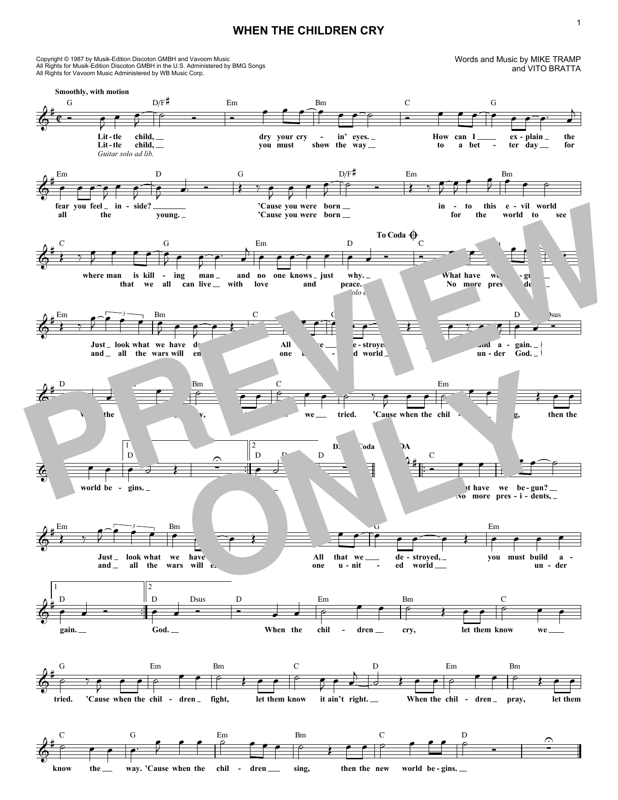 When The Children Cry (Lead Sheet / Fake Book)